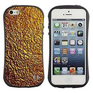 """Hypernova Slim Fit Dual Barniz Protector Caso Case Funda Para Apple iPhone SE / iPhone 5 / iPhone 5S [Patrón Oro Textura brillante del metal amarillo""""]"""