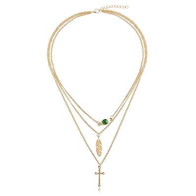4838d868c5ac2 Amazon.com: Beydodo Triple Layer Necklace Gold Plated Choker ...