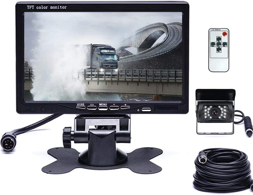HD Backup Camera Kit 7 Inch LCD Rear View Camera Monitor, P67 Waterproof Night Vision, Easy Installation Back up Rearview Cam for Trucks, RVs, Trailers, Bus, Harveste, Pickup, Motor Home, Van ect.