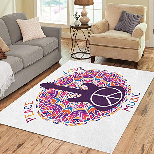 Semtomn Area Rug 5' X 7' Hippie Peace Symbol Love Music Sign and Guitar Home Decor Collection Floor Rugs Carpet for Living Room Bedroom Dining Room