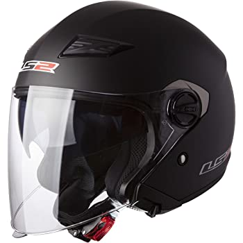 LS2 Helmets 569-3014 Track Solid Open Face Motorcycle Helmet with Sunshield (Matte Black, Large)