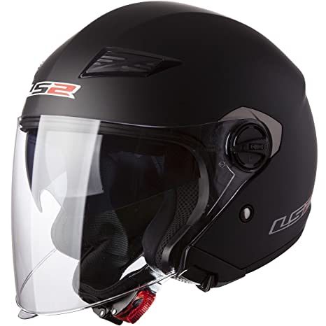 LS2 Helmets 569 Track Solid Open Face Motorcycle Helmet with Sunshield (Red, Large)