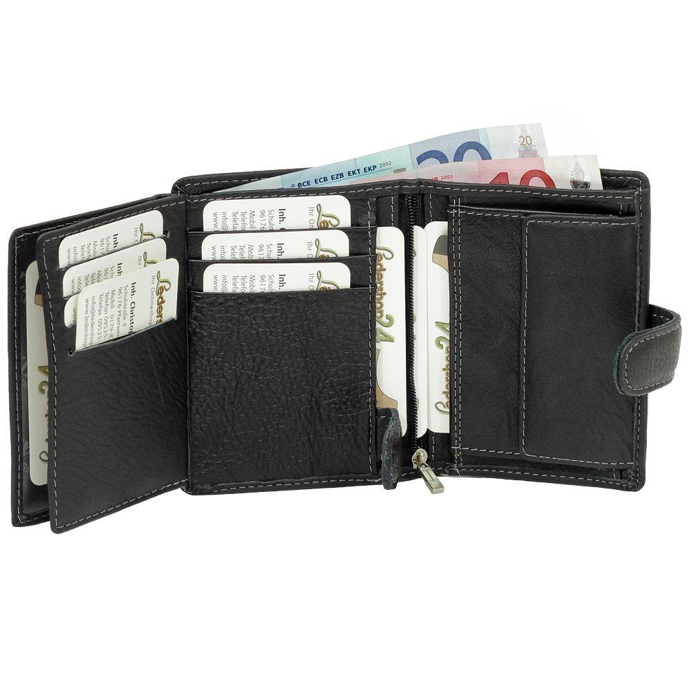 Cierre cartera monedero cartera de piel para hombre (negro)