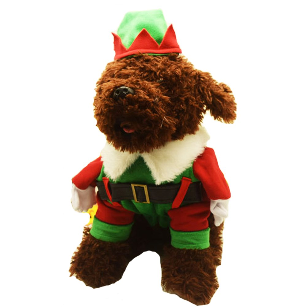 M NACOCO Christmas Dog Coat Elf Pet Santa Claus Costume Cat Outfit with Cape and Hat (M)