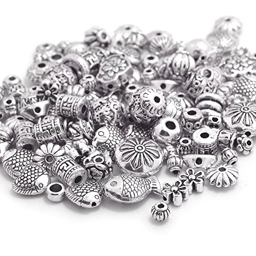 Designer Spacer Beads (Bonayuanda 100 Gram Bali Style Antique Tibetan Silver Findings Jewelry Making Metal Alloy DIY Spacer Beads Deluxe Mix 120-150pcs)