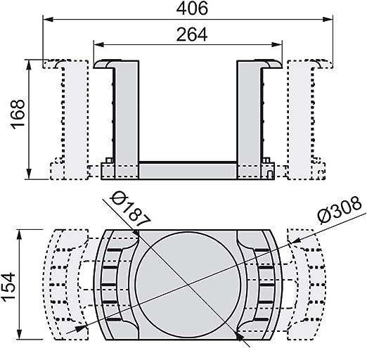 Emuca 8934021 Porta-platos regulable//extensible para platos de di/ámetro 187mm a 308mm