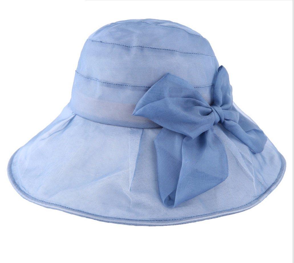 bluee Summer Visor Female Korean Folding Silk Sun Hat Silk Beach Hat ZXCV