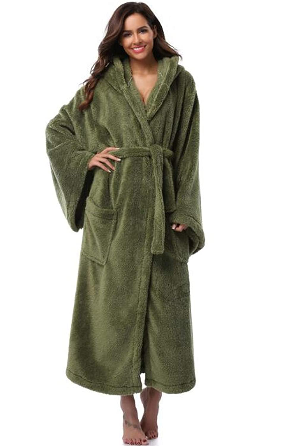Green Julitia Winter Thick Warm Women Robes 2018 Coral Fleece Sleepwear Long Robe Woman Hotel