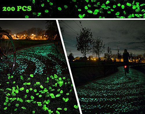 "KLEMOO Glow in the Dark Pebbles 200 PCS, Artificial Decorative Stones Rocks for Walkways and Aquarium in Green, Create Glowing ""Starry Night"" Garden"