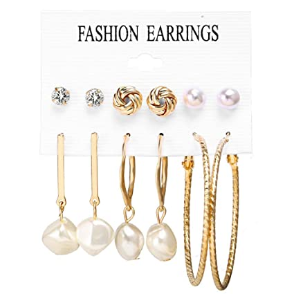 Tronet Acrylic Hoop Earrings for Women Sterling Sliver Hollow Dangle Drop Earrings Heart Pearl Stud Earrings Jewellery Accessories Gift for Birthday Christmas Valentines Day