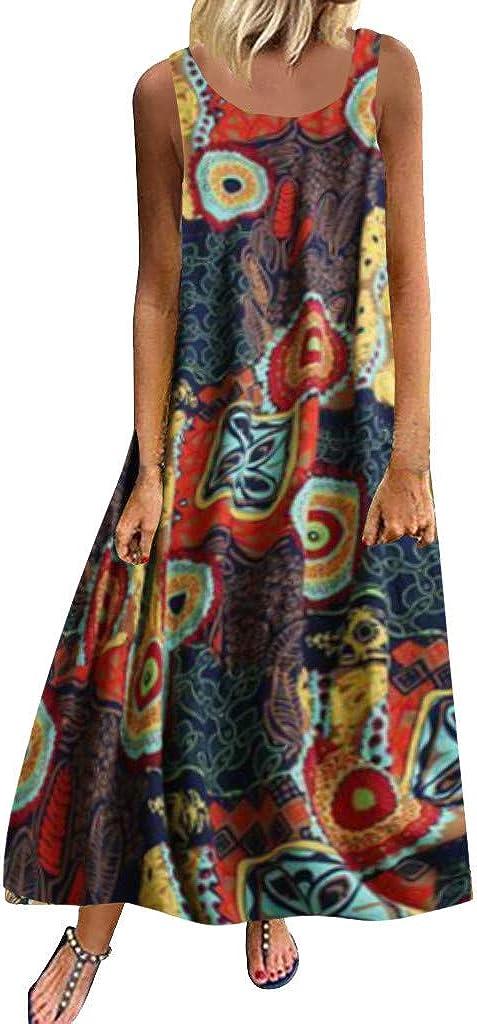 riou Vestido Mujer Bohemio Largo Verano con Estampado de Lino Cuello Redondo Vestido de Playa Fiesta Talla Grande Maxi Vestidos