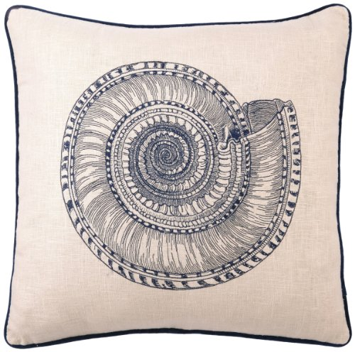 D.L Rhein Embroidered Linen Pillow, Trochus, Blue, 20 by 20-Inch (Concepts California Classic Furniture)