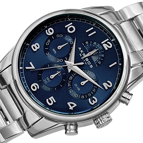 Akribos XXIV Silver and Blue Stainless Steel Men's Designer Watch – AK1042SSBU