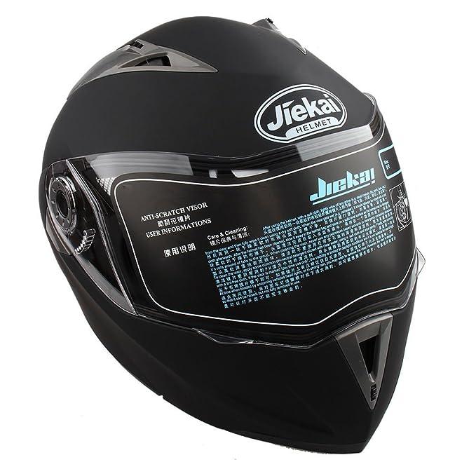 Amazon.es: Casco de Moto de Doble Lente con Visera Integral Casco de Protección de Motocicleta (L, Negro No Reflexivo)