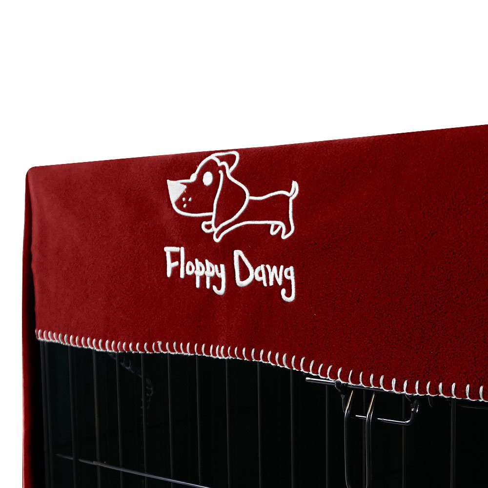 Slate Gray Lightweight and Breathable Polar Fleece. and Adjust Easy to Put On Floppy Dawg Crate Cover Doubles as a Comfy Blanket Take Off Fits 30 Inch Dog Crates or Smaller