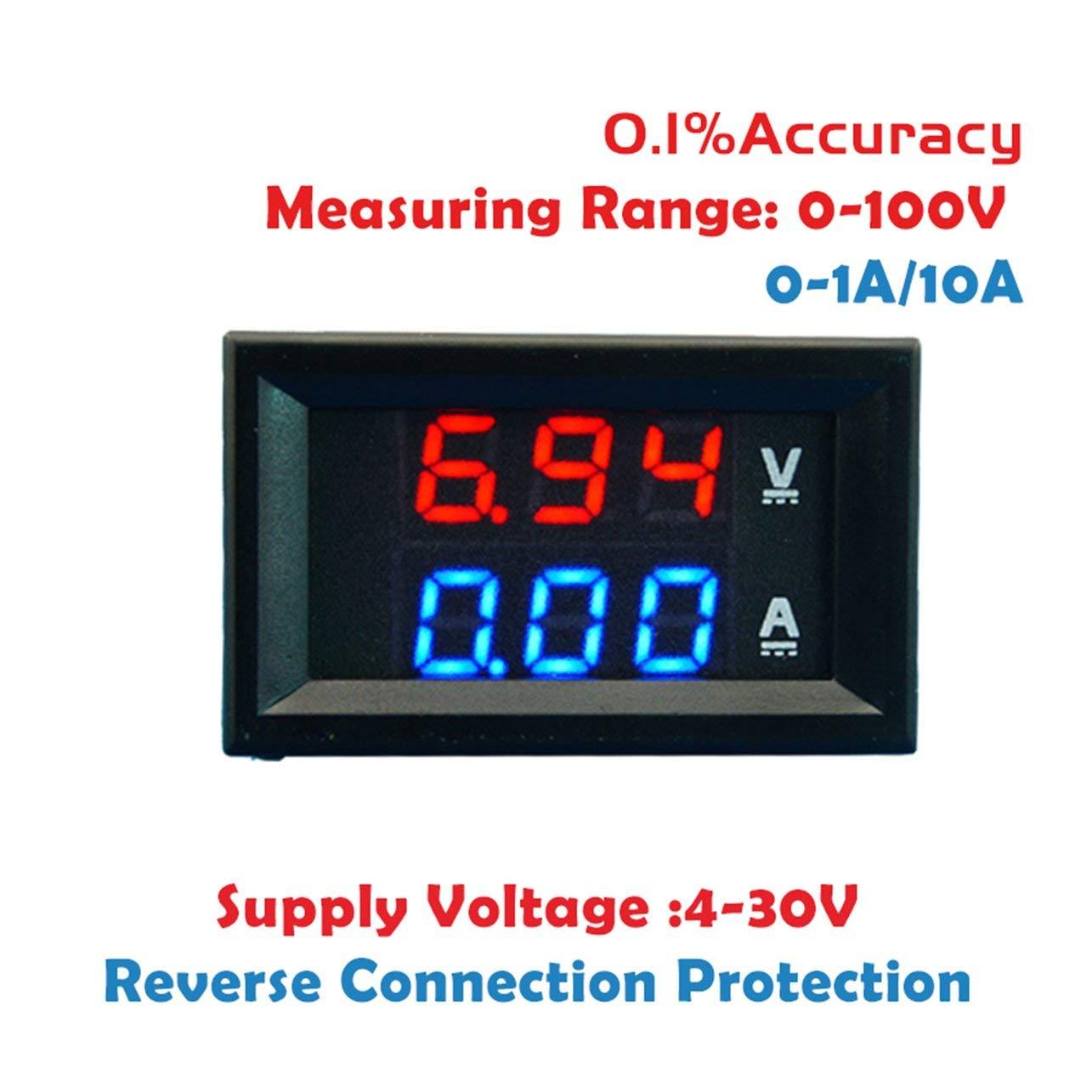 100V 10A DC voltmè tre numé rique ampè remè tre bleu + LED rouge Amp Volt Gauge compteur WOSOSYEYO
