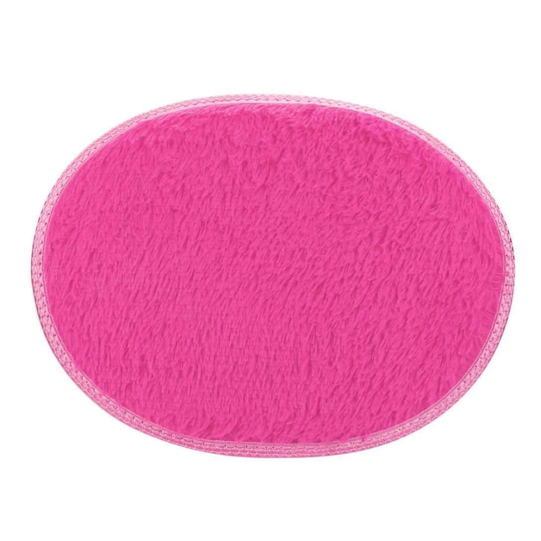 Gotd Soft Fluffy Area Rug 30x40cm Anti-Skid Home Bedroom Bathroom Floor Door Mat (Hot Pink)
