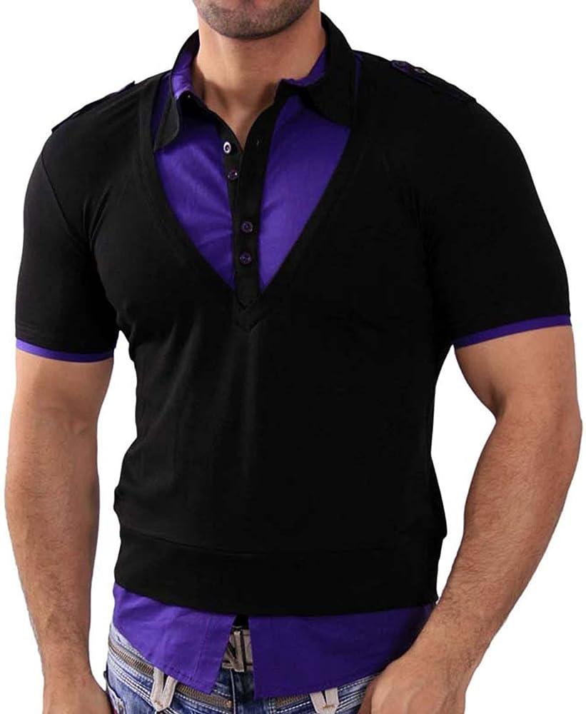 Rusty Neal Manga Corta – Camiseta de Polo Polo Camisa Style Negro/Lila RN de 3191 Negro/Lila Medium: Amazon.es: Ropa y accesorios