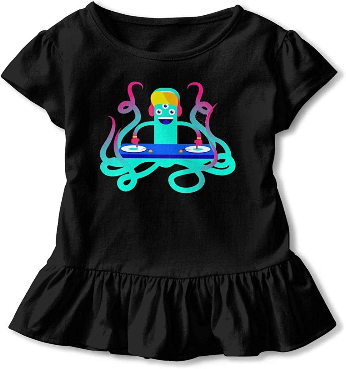 Not Available Play Dj Shirt Baby Girls Ruffles Casual Shirt Dress for 2-6 Years Old Baby