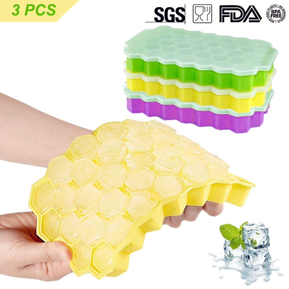 Farielyn-X Ice Cube Trays,2 Pack Food Grade Silicone Rubber Flexible and BPA Free 74 Cubes Ice Trays with Lid Stackable Easy Release Mini Cocktail Whiskey Ice Cube Mold Storage Containers-Green&Yellow Silicone Manufacturing Plant.