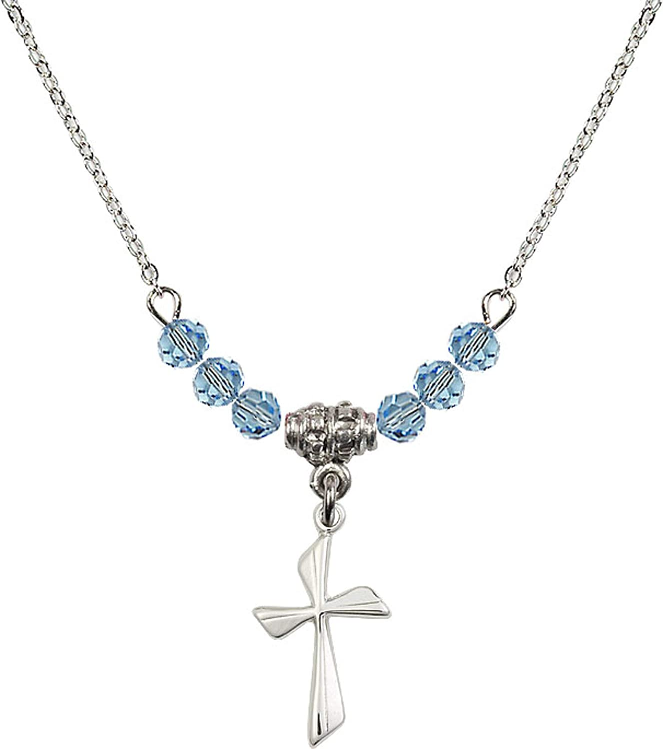 Bonyak Jewelry 18 Inch Rhodium Plated Necklace w// 4mm Blue March Birth Month Stone Beads and Cross Charm