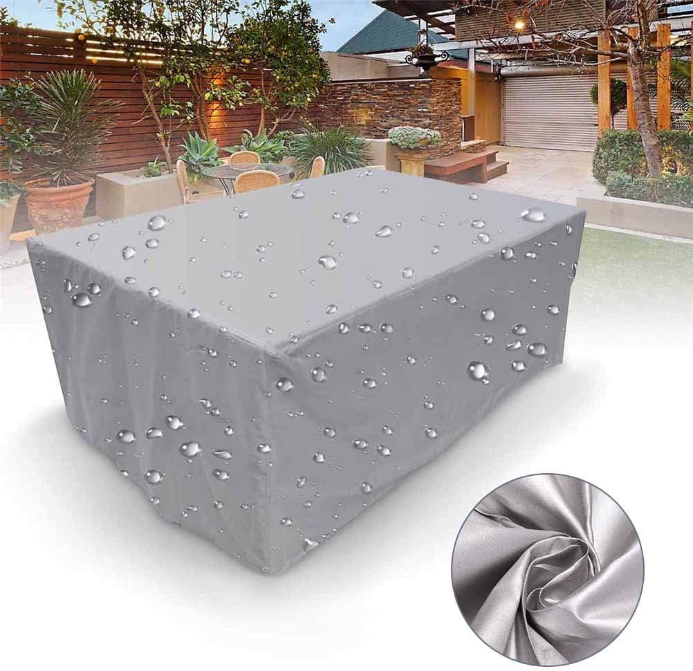Funda Muebles Jardin Impermeable Funda Muebles Exterior Plata Gran Tamaño XL Apto para Sillones Sofás Columpios Mesas Tumbonas
