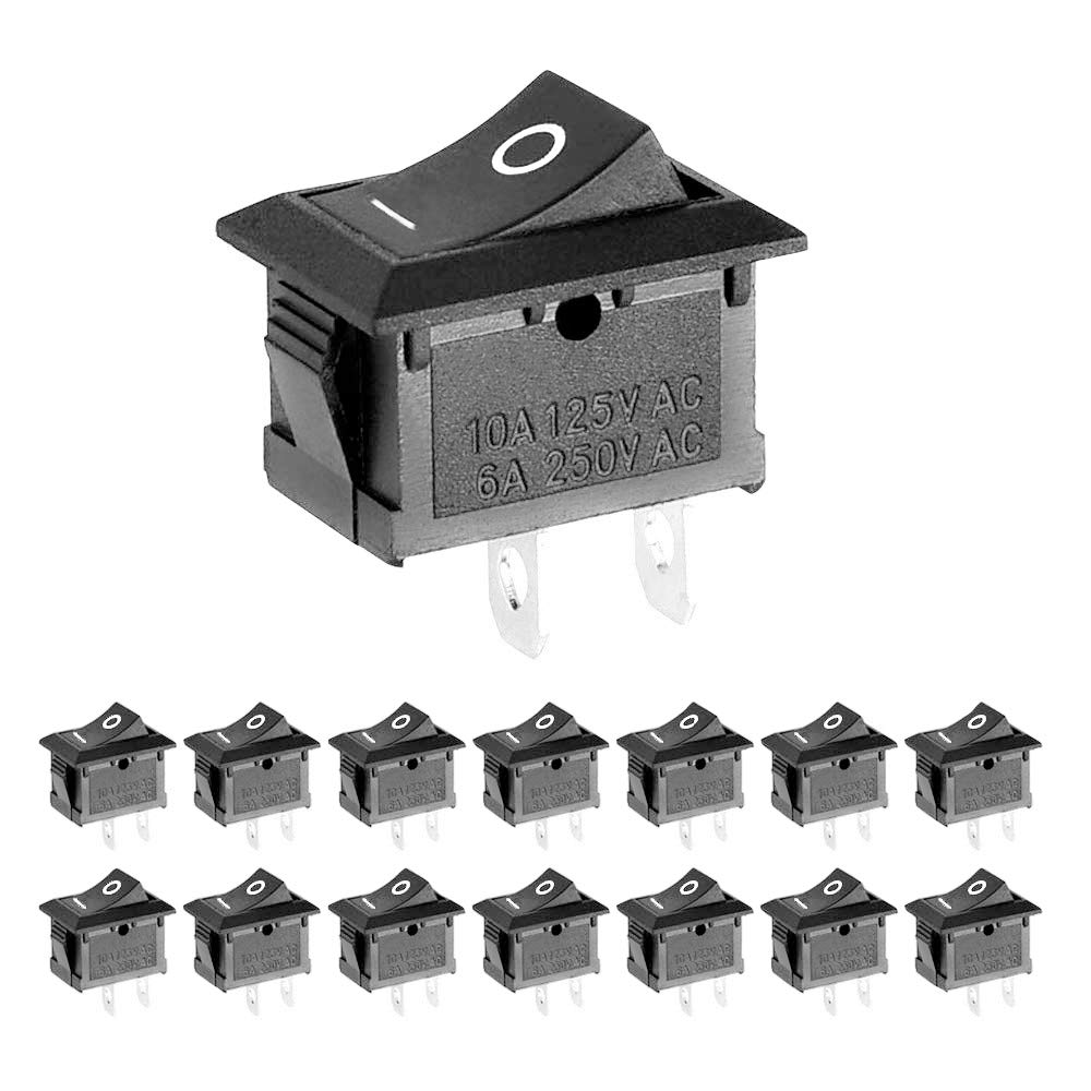 ZUPAYIPA 15 Pcs AC 6A/250V 10A/125V 2 Solder Lug SPST On/Off Mini Boat Rocker Switch Car Auto Boat Round Rocker 2 Pin Toggle SPST Switch Snap: Industrial & Scientific
