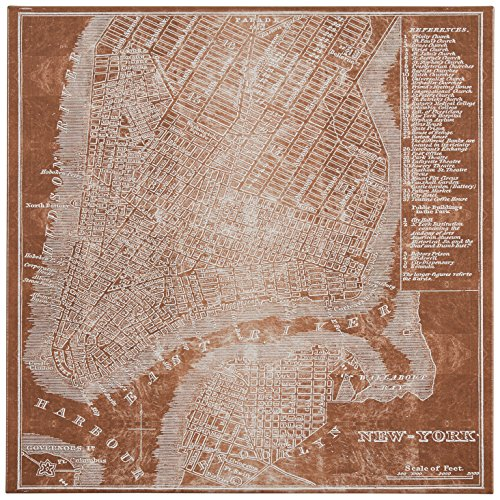 """Modern Copper Print of New York City Map on Canvas, 16"""" x 16"""""""