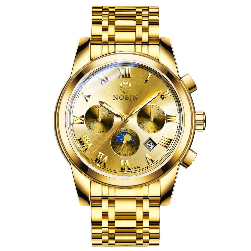 Herrklockor, 6-pin mekanisk klocka stålbälte affärer herrklocka Full Gold