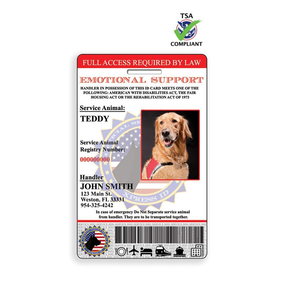 XpressID Emotional Support Animal ID Card with Holographic Overlay and Registration to Dog Registry. by Xpress ID