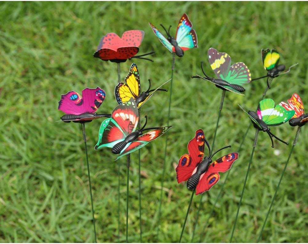 Colorful garden butterfly gardening flower decoration patio ornament plant decoration outdoor yard 10Pcs DDG EDMMS Butterfly on the sticks imitation