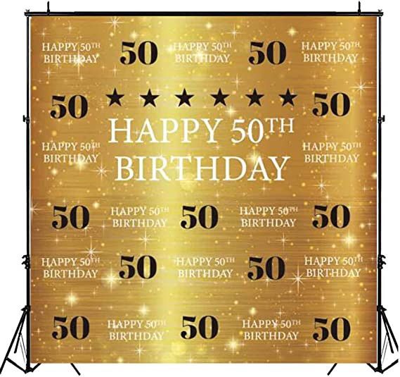 GoEoo 5x5ft Happy 50th Birthday Vinyl Photography Background Fantastic Golden Glittering Sequins Number 50 Backdrop Old People Birthday Party Banner Wallpaper Studio Props