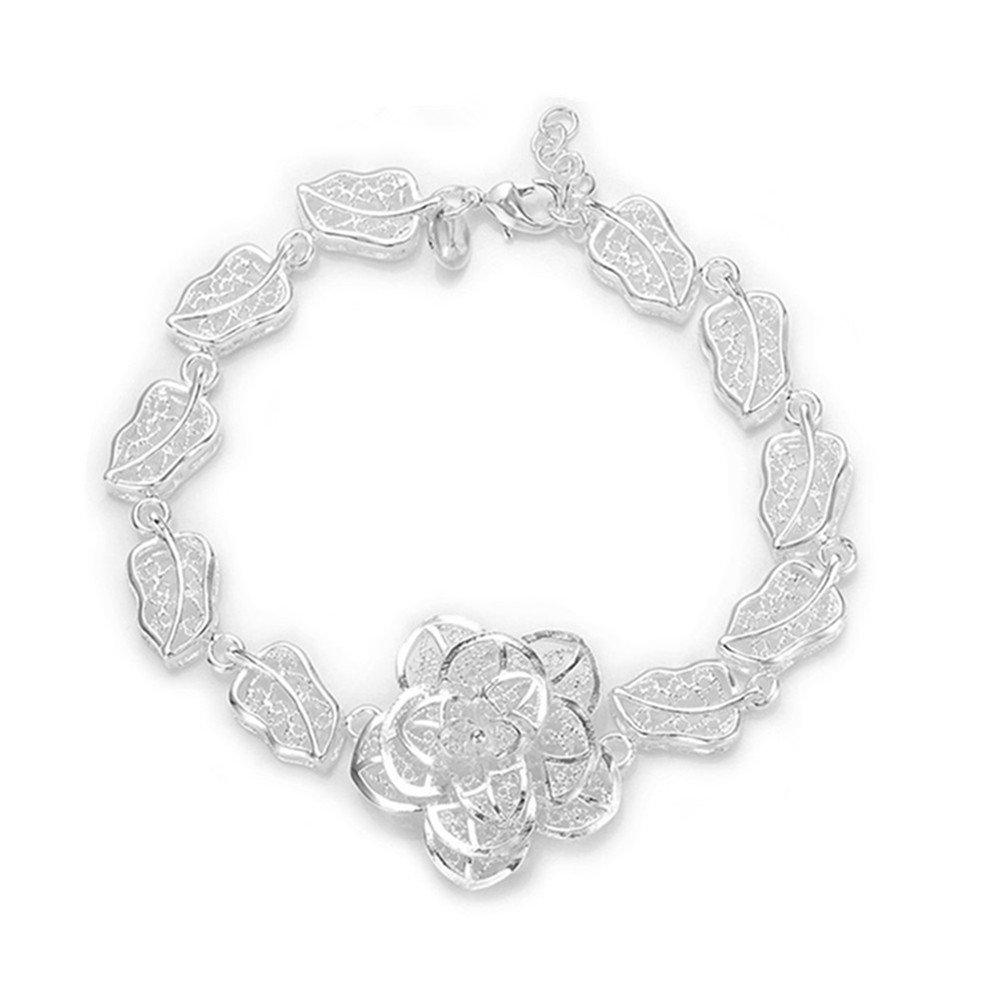 HMILYDYK Elegant Unique Flower Leaf Chain 925 Sterling Silver plated Jewellery Bracelet