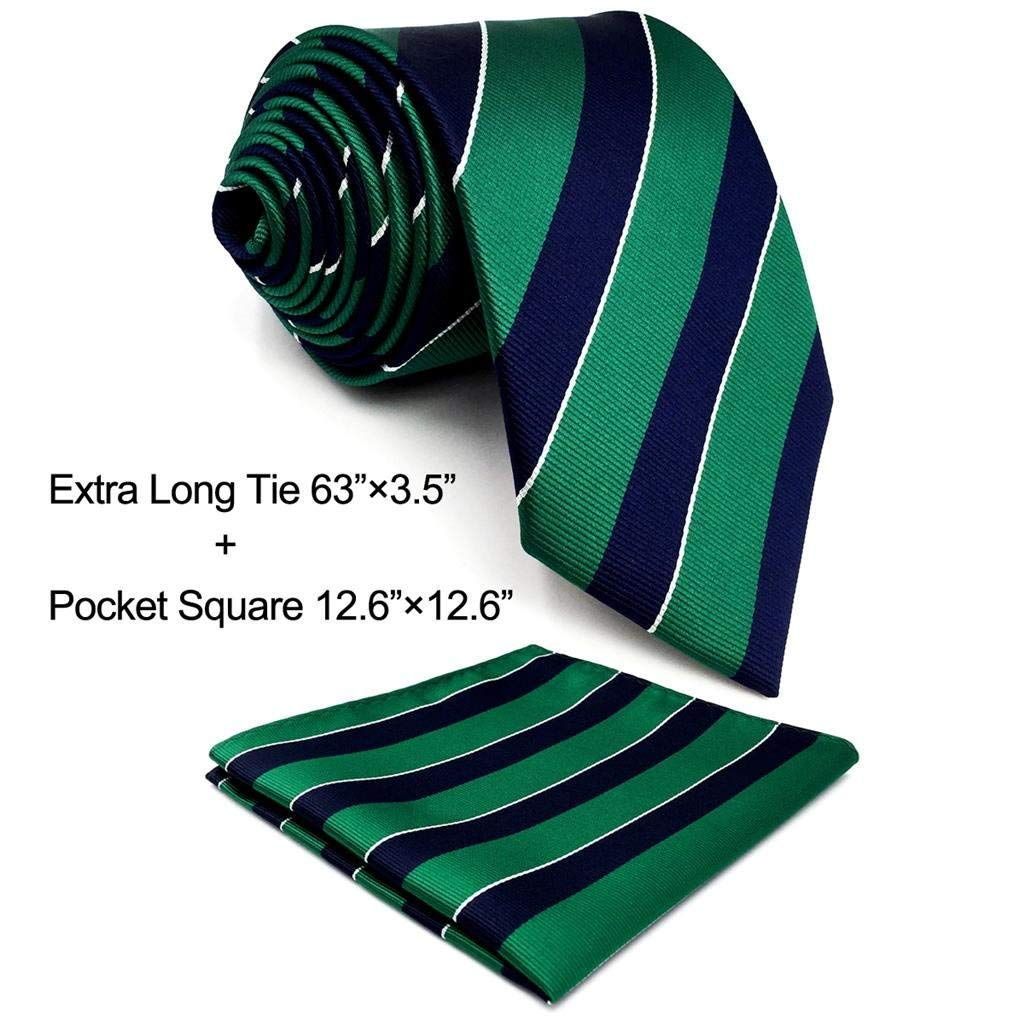 Shlax& Wing Stripes Necktie Mens Tie Blue Green Classic Extra Long 63 New Design Y27-H