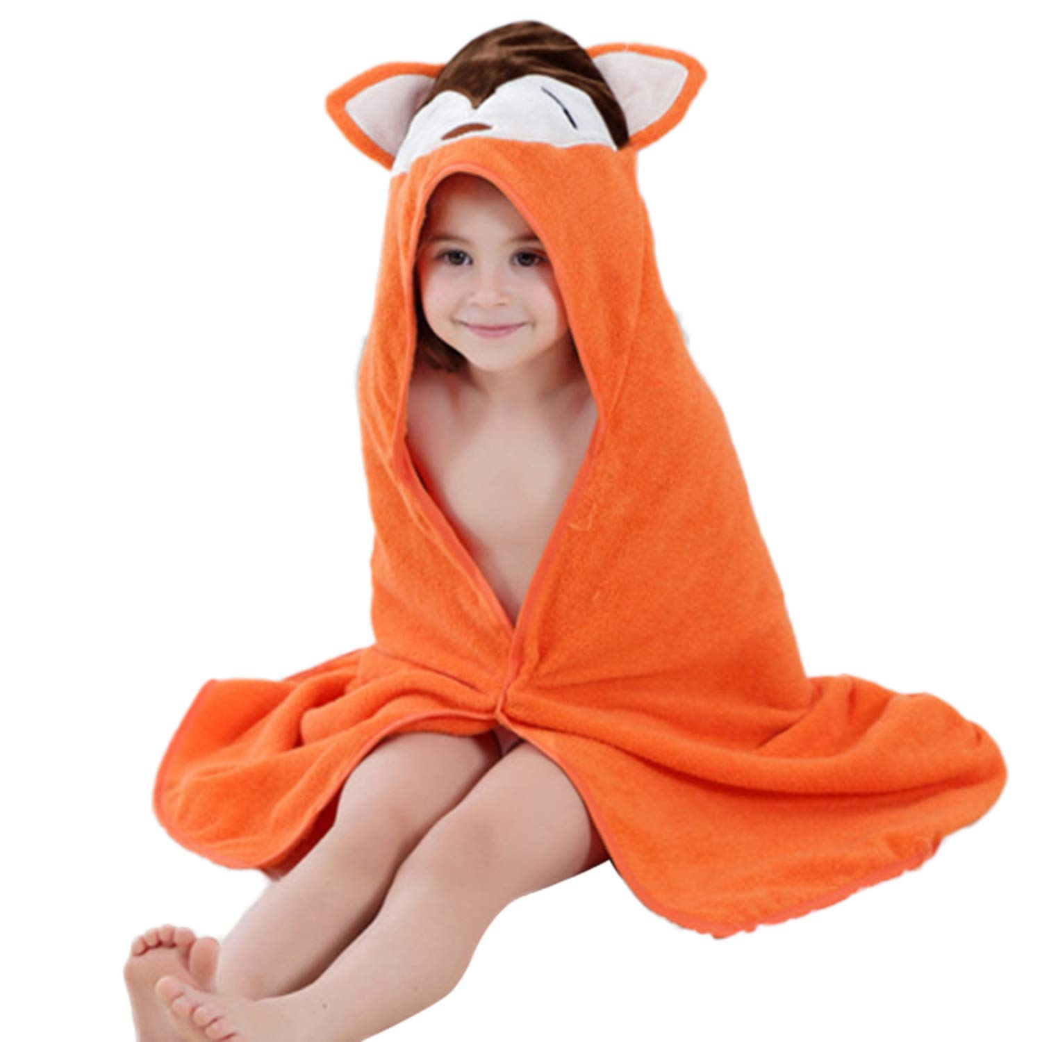 SSTQSAA Animal Fox Giraffe Style Hooded Baby Bath Towel Toddler Premium Cotton Absorbent Bathrobe Beach Cloak 35