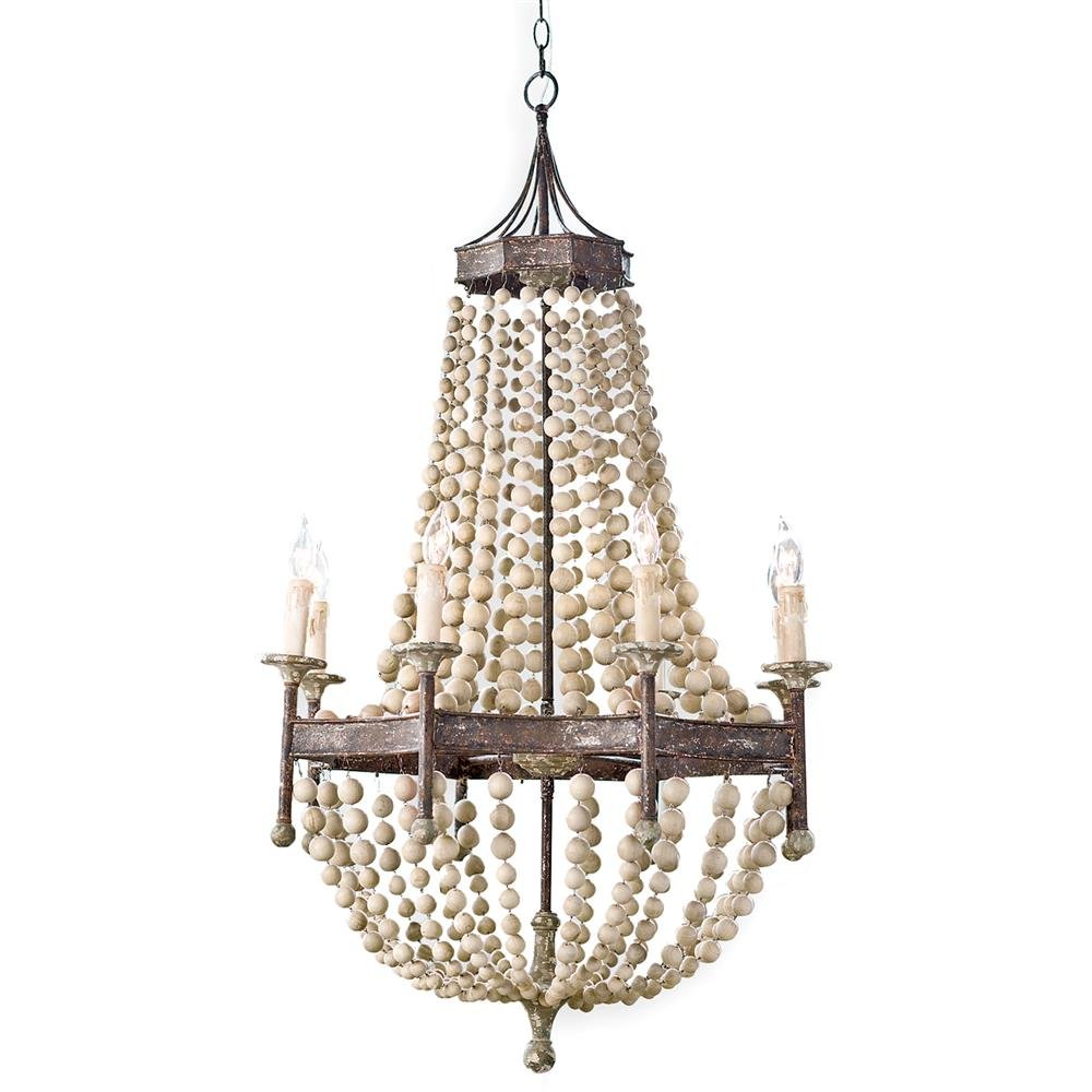 French Country Chateau Chandelier Antique Scalloped Bead Lamp (Wooden) by Deluxe Lamp (Image #1)