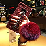 for iPhone 7 Plus Case,for iPhone 8 Plus Case,BabeMall Luxury Stylish DIY Handmade Bling Diamond Fur Plush Ball Strap Chain Case (Red Ball)
