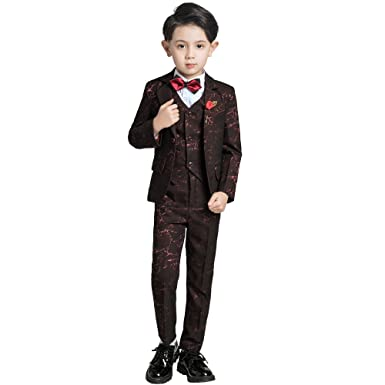 a18ed35c7f Amazon.com: Yuanlu Tuxedo Kids Boys 5 Pieces Slim Fit Toddler Boy ...
