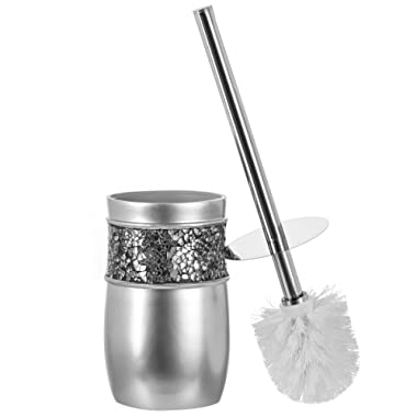 Creative Scents Bathroom Toilet Brush Set - Good Grip Toilet Bowl Cleaner Brush and Holder, Decorative Design Compact Bowl Scrubber (Silver)