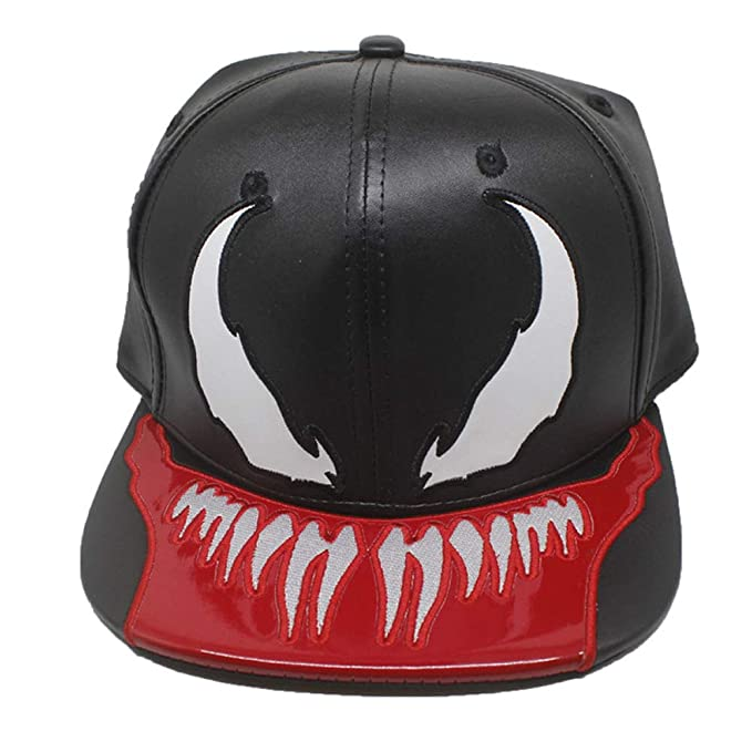 23eb42fb1b35f Xuzirui PU Leather Venom Spider Hats Snapback Cool Flat Hat Adjustable  Outdoor Sunhat Hip Hop Caps Halloween Party Props at Amazon Men s Clothing  store