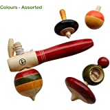Maya Organic Handcrafted Wooden Spinning Tops - Collection 1: Merry Tops ( 4 Assorted Tops, Multi Color)
