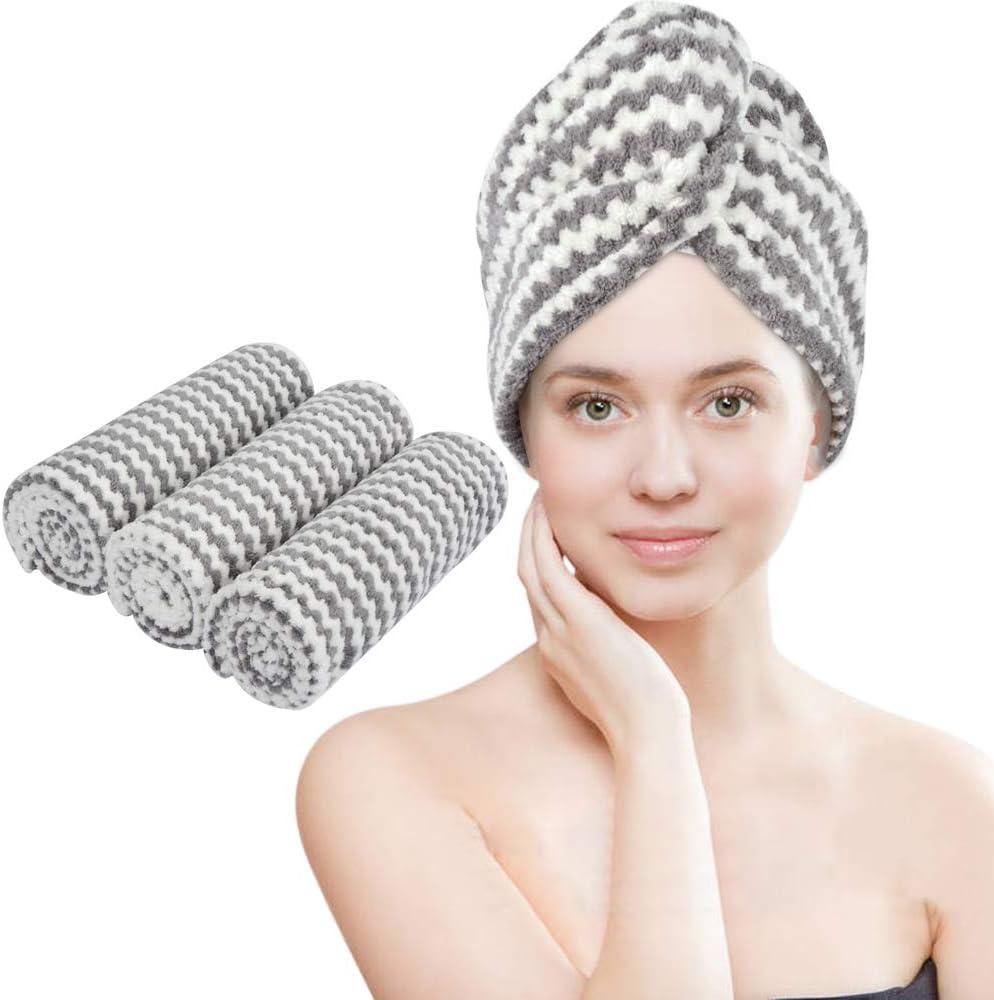 VIVOTE Microfiber Hair Towel Turban Wrap - 3 Pack, Hair Fast Drying Hat, Hair Dry Cap, Head Turban, Super Absorbent, Soft, Lightweight, Anti Frizz, Women Girls Gift 10 x 25.5 Inch (Gray)