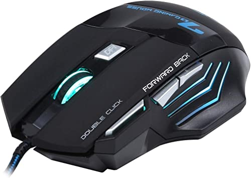 Color : Black 7 Buttons with Scroll Wheel 5000 DPI LED Wired Optical Gaming Mouse for Computer PC Laptop Durable
