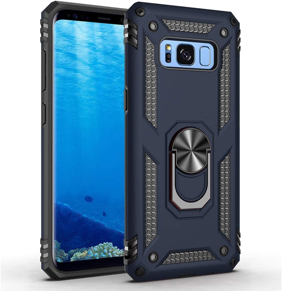 Military Grade Drop Impact for Samsung Galaxy S8 Plus Case(Galaxy S8+) 360 Metal Rotating Ring Kickstand Holder Built-in Magnetic Car Mount Armor Shockproof Cover for Galaxy S8+ Phone Case (Blue)