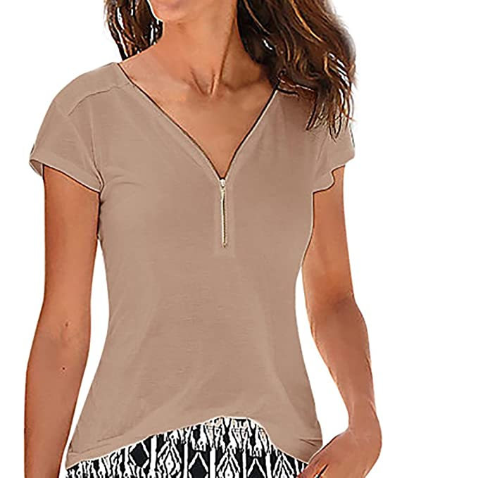 Blusas Para Mujer Rawdah Blusas De Mujer Sexy Camisa Casual Para Mujer Ladies V Neck Camiseta Suelta con Cremallera Blusa Camiseta Superior Blusas Para ...