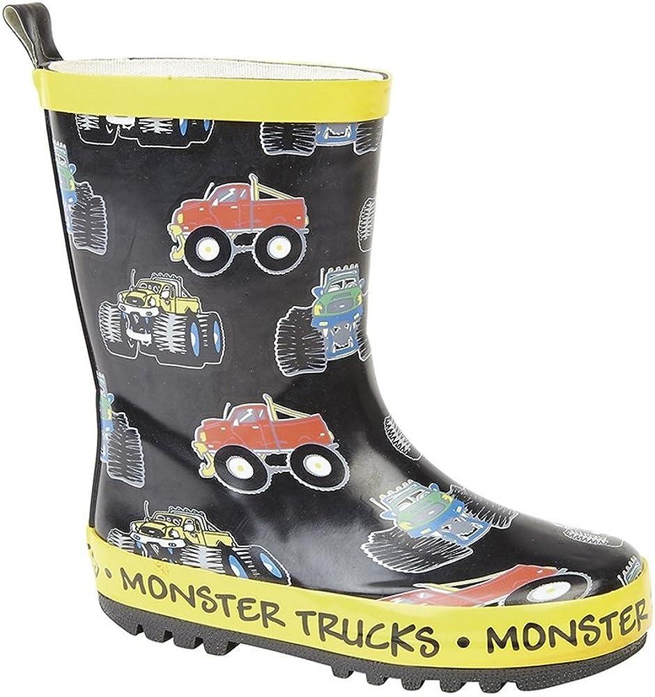 Amazon Com Stormwells Childrens Kids Monster Trucks Wellington Boots 2 5 Us Black Yellow Trim Boots