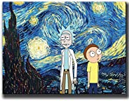 QIXIANG Rick and Morty - Pintura al óleo sobre lienzo, pósteres e impresiones decorativas, arte de pared para