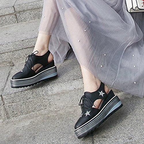 spessa una Thirty casual scarpe suola moda scarpe KPHY le di star trentaquattro con nine alla black zeppe muffin hollow scarpe sandali i qtR56Fw