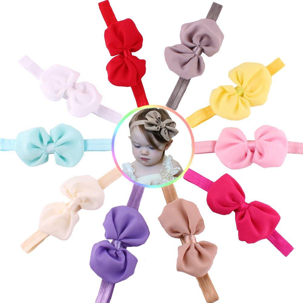 Stockton 10 Pcs Couleur De Bonbons Mousseline De Soie Noeud Papillon Oreilles Bébé Filles Bandeau Cheveux Habiller Accessoires (Couleur Aléatoire)