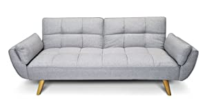Divano letto in tessuto grigio chiaro - Divanetto 3 posti mod.Ambra rivestito in tessuto